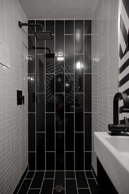 Remember When I Posted This Bathroom It S Black White Stripes Design Indulgences
