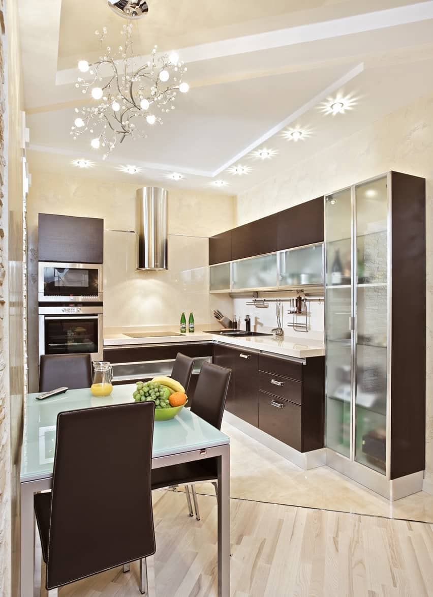 small kitchen design ideas small kitchen white cabinets Small kitchen modern style with glass and wood cabinets