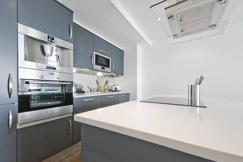clean simple kitchen dominated cabinets matte gray designing kitchen kitchen decor design ideas