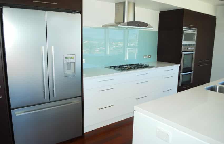light blue backsplash modern kitchen brown white cabinets light blue subway tile backsplash backsplash