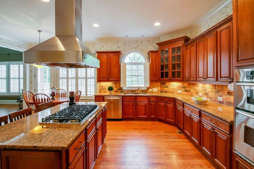 galley kitchen achieve traditional kitchen elegant brick backsplash kitchen presented soft colors