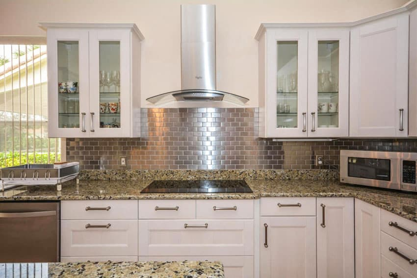 shaped kitchen metal mosaic stainless steel brick backsplash elegant brick backsplash kitchen presented soft colors