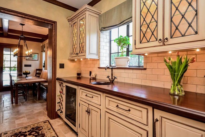 white kitchen cream brick backsplash elegant brick backsplash kitchen presented soft colors