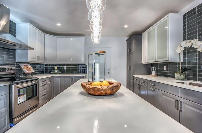 Gray Kitchen Cabinets With White Quartz Countertops