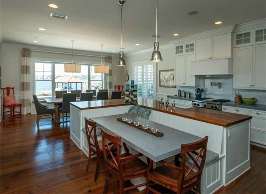 L Shaped Island Beautiful Kitchen Islands With Bench Seating - Designing Idea