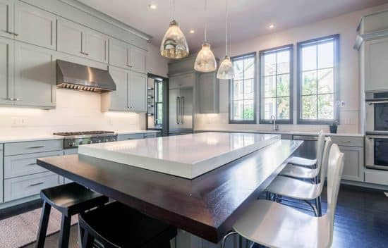 Kitchen Island Ideas With Bar White Quartz Countertops (kitchen Design Ideas