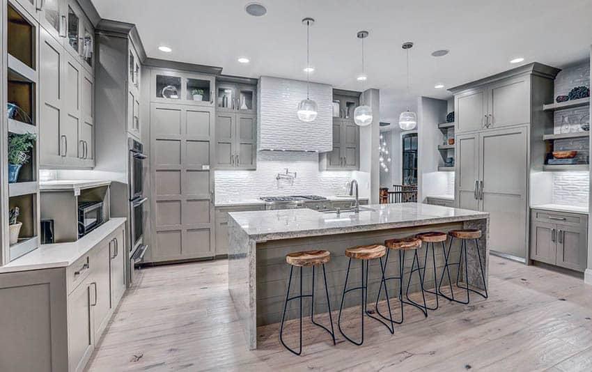 Wood Grain Gray Kitchen Cabinets Furniture Design For