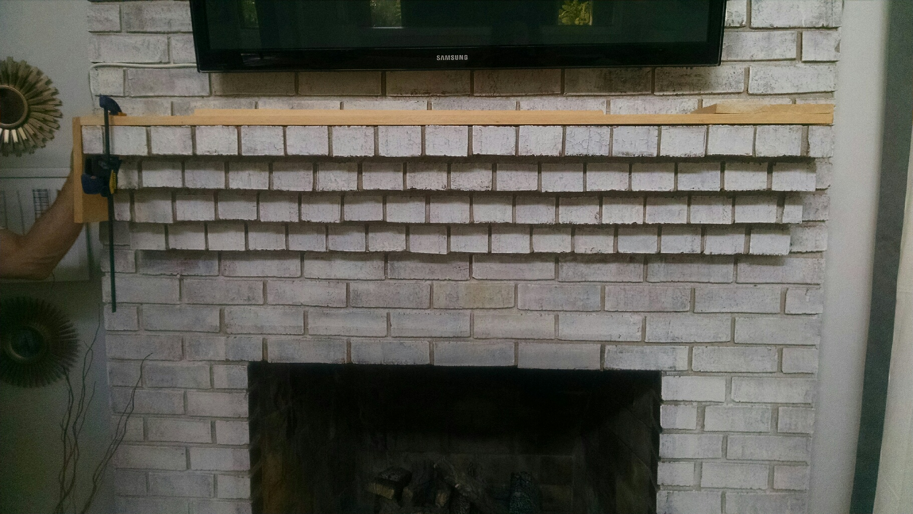 Fireplace Beam Mantel Wood Beam Mantel Diy For Under 30 Fireplace Makeover