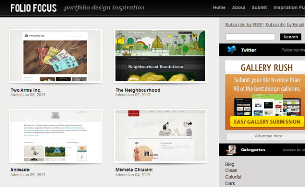 foliofocus portfolio website gallery css inspiration