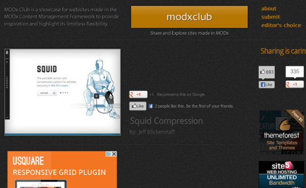 modx cms inspiration gallery showcase