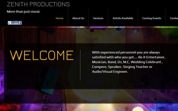 zenith productions company website layout