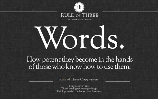 copywriters website layout rule of three