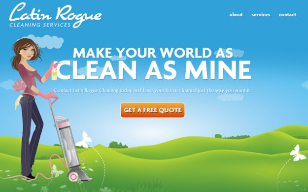 latin rogue cleaning website service layout
