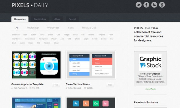 dark website homepage pixelsdaily freebie psd
