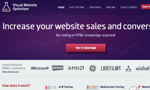 visual website optimizer vwo homepage layout screenshot