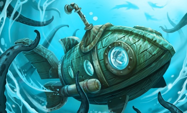 wooden submarine underwater illustration cg