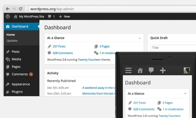 wordpress 3.9.1 update admin panel refresh screenshot