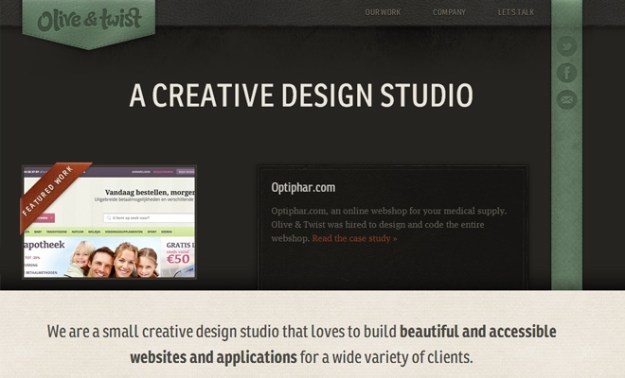 olive and twist dark portfolio website layout