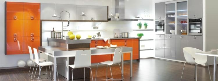 Cuisine couleur orange pour un décor moderne et énergisant