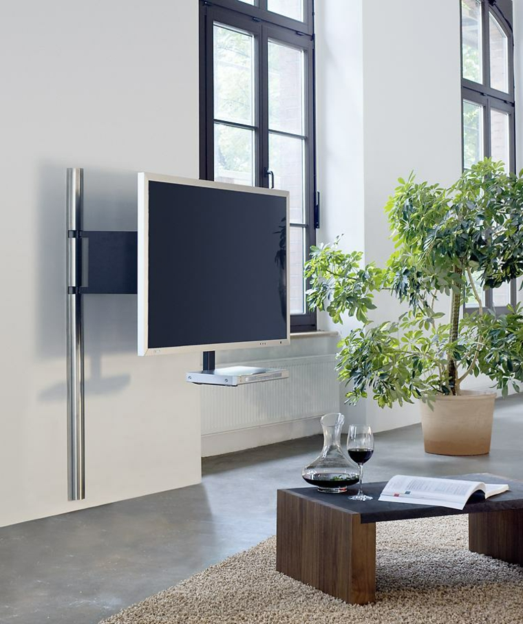 Tele Accrocher Au Mur Meuble D'angle Tv De Style Contemporain Et Moderne