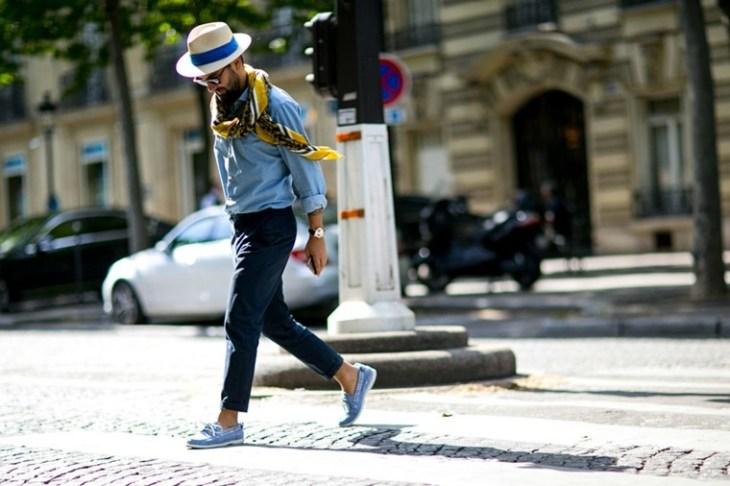homme moderne tendance chapeau idée écharpe pantalon