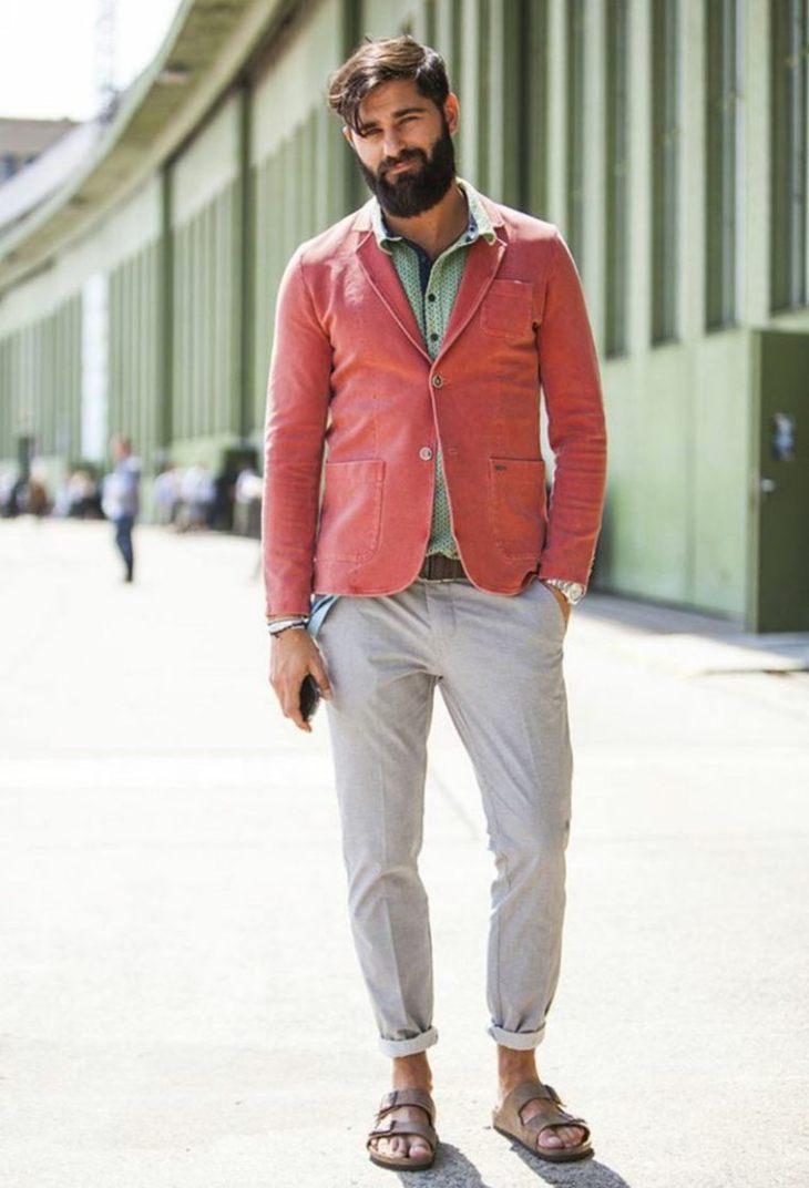 homme tendance moderne pantalon blanc sandales homme