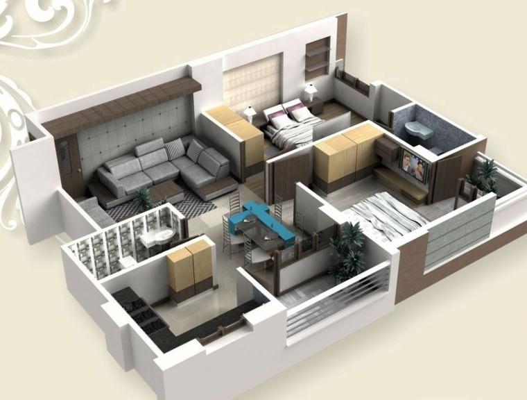Le plan maison d\u0027un appartement une pièce - 55 idées - Plan De Maison En 3d