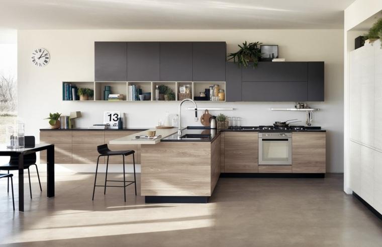 Cuisine noire et bois - un espace moderne et intrigant