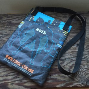 back of repurposed comic-con bag