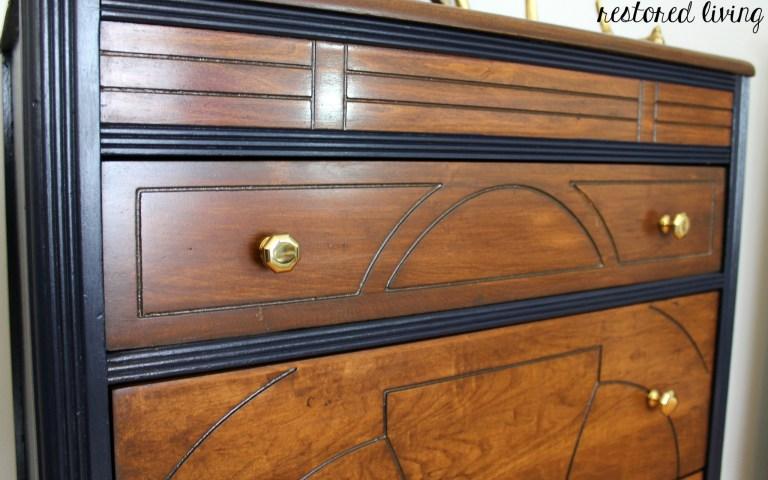 Art Deco Dresser In Antique Walnut Coastal Blue