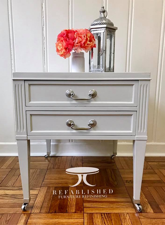 Tisch Lackieren End Table In Seagull Gray Milk Paint | General Finishes