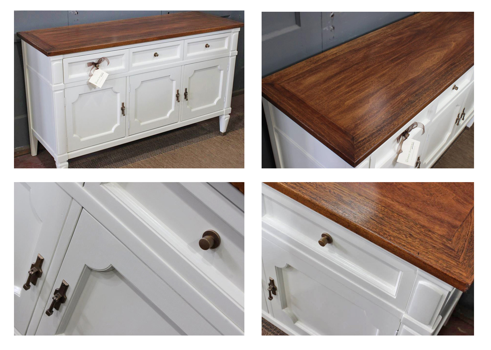 How To Paint Antique White Kitchen Cabinets Buffet in Antique White Milk Paint and Brown Mahogany Gel ...