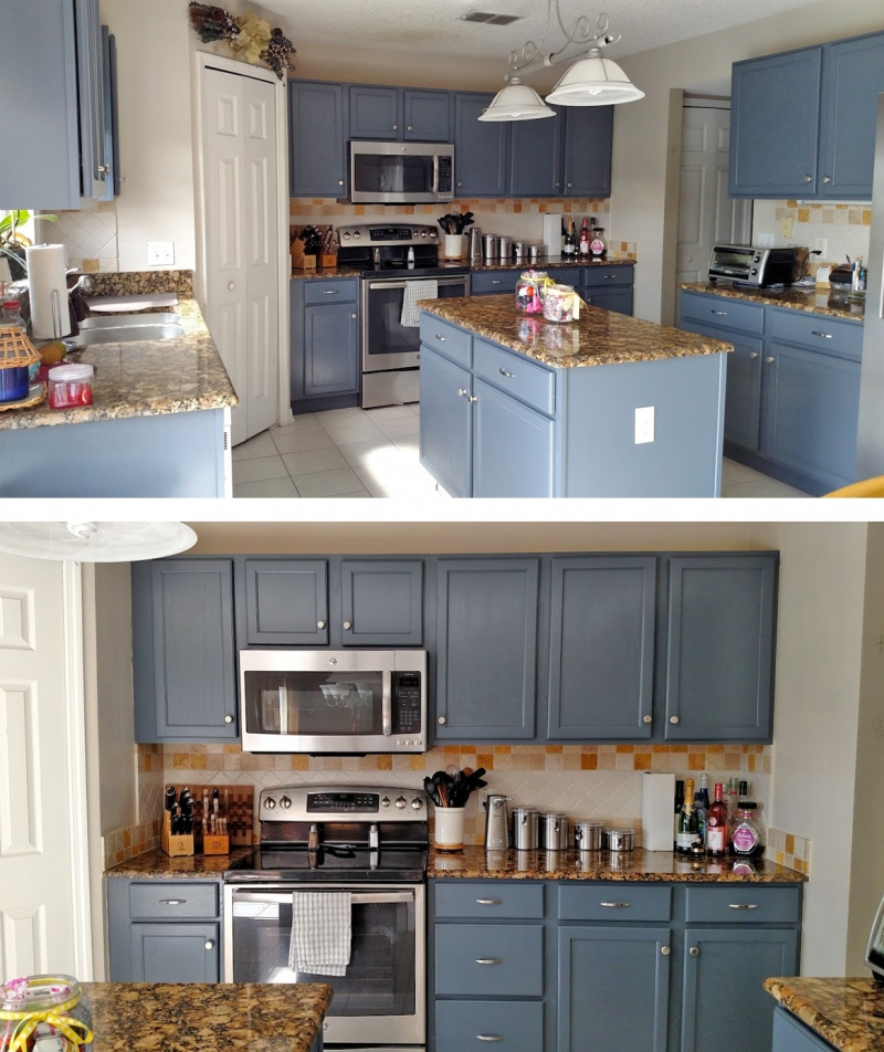 Java Stained Kitchen Cabinets Kitchen Makeover In Gray Gel Stain | General Finishes