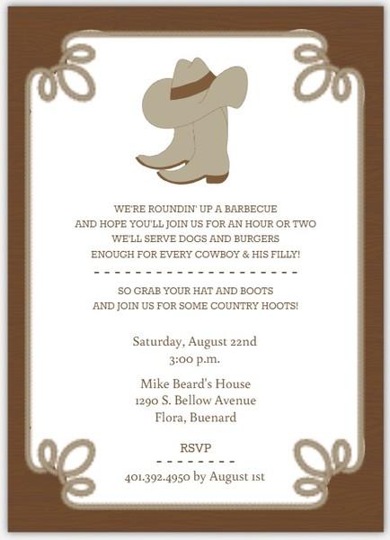 Cowboy boot invitation template bbq invitations bbq invite amp bbq