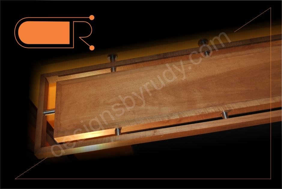 Wood Custom Made Shelves Fireplace Mantel Shelf Made from Maple Wood and Stainless Steel Rods
