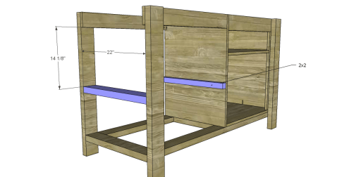 Free Plans to Build a New American Barnwood Kitchen Island_Upper Slat Supports 1