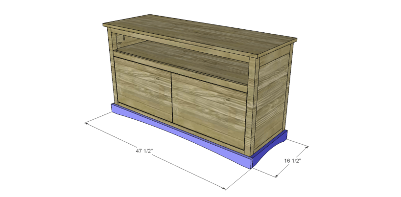free plans to build a pier one inspired glenfield media stand_Trim