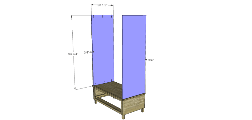 free DIY woodworking plans to build a large armoire_Upper Sides