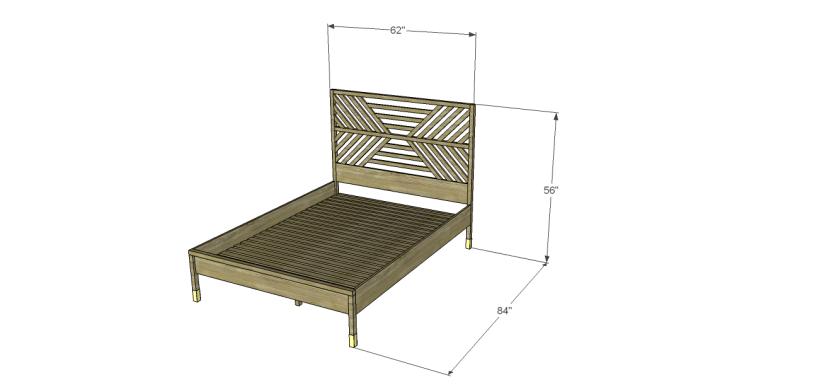 build bed diagonal slatted headboard