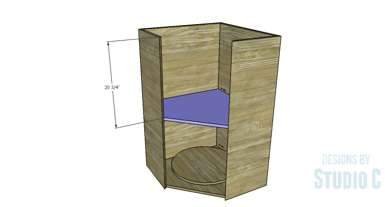 DIY Plans to Build a Tall Diagonal Face Upper Corner Cabinet_Shelf 2