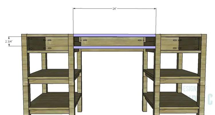 DIY Plans to Build an Open Shelf Desk-Center Stretchers