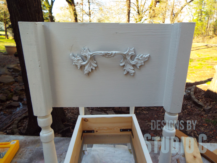 DIY Furniture Plans to Build a Fruit and Vegetable Bin - Handle Installed