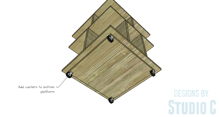 DIY Furniture Plans to Build a Mod Storage Table on Casters - Casters