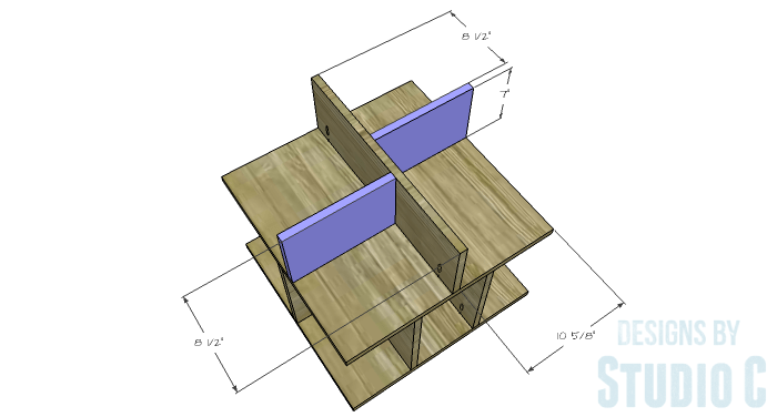 DIY Furniture Plans to Build a Mod Storage Table on Casters - Upper Shelves 2