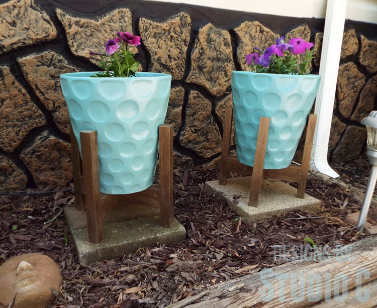 DIY Plant Stands Made with Recycled Wood - Stands Completed
