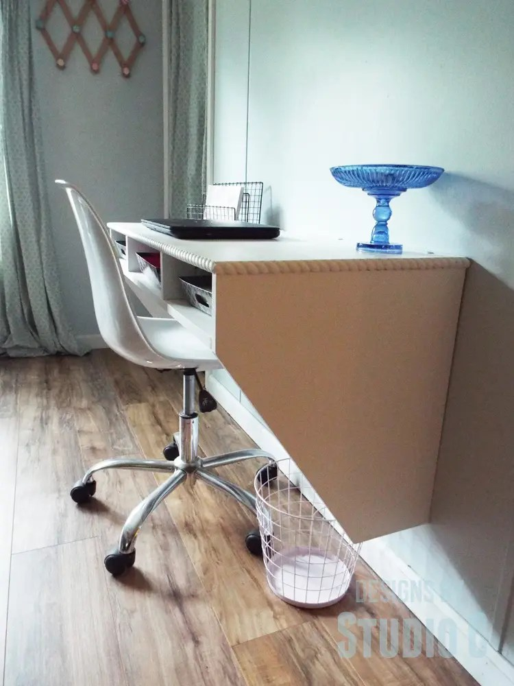 Diy furniture plans to build a wide wall mounted desk for Diy wall to wall desk