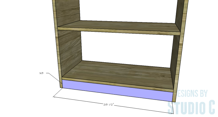 DIY Furniture Plans to Build an Open Bookcase with Drawers - Lower Stretchers