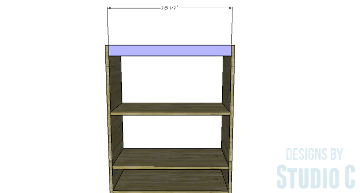 DIY Furniture Plans to Build an Open Bookcase with Drawers - Upper Stretchers