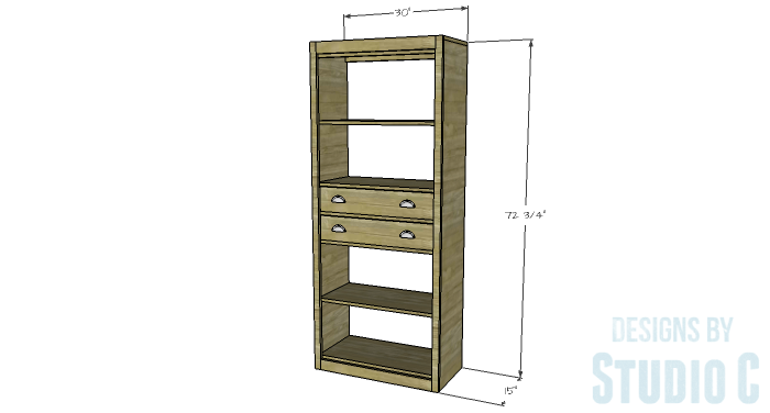 DIY Furniture Plans to Build an Open Bookcase with Drawers