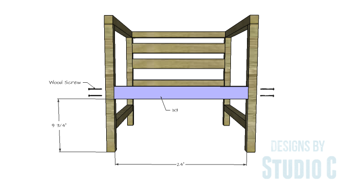 DIY Furniture Plans to Build a Modern Outdoor Chair - Front Stretcher